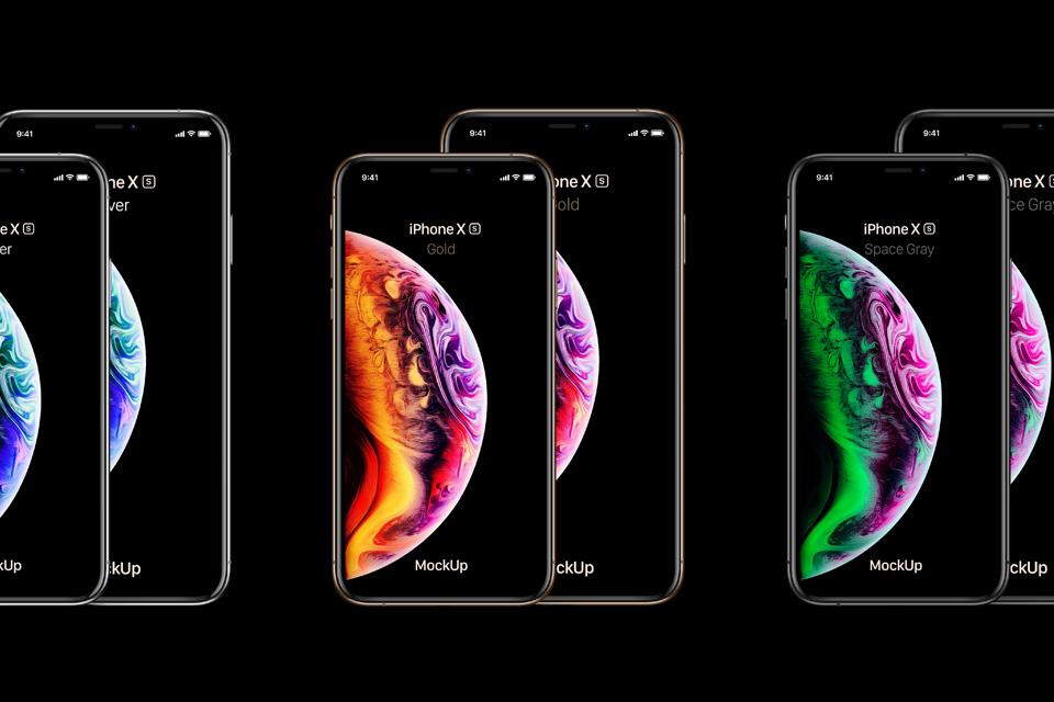 Mockups dos iPhones Xs e Xr
