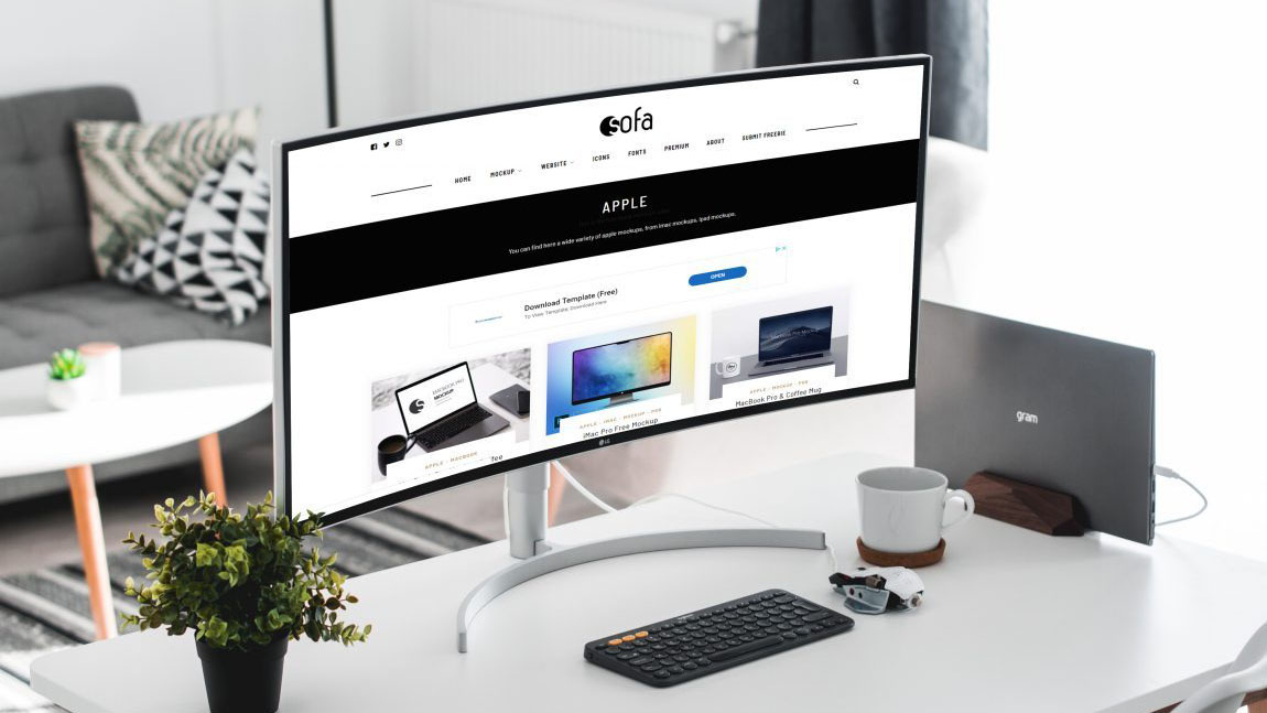Mockup de monitor ultra-wide curvo