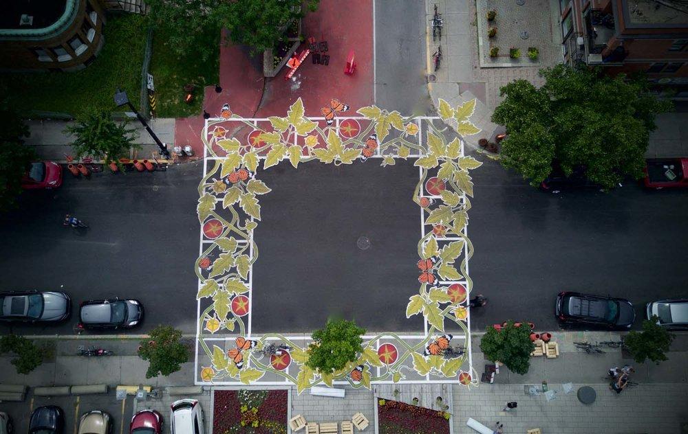 Foto aérea de uma esquina onde foram pintadas folhas como se fossem as 4 faixas de pedestres.