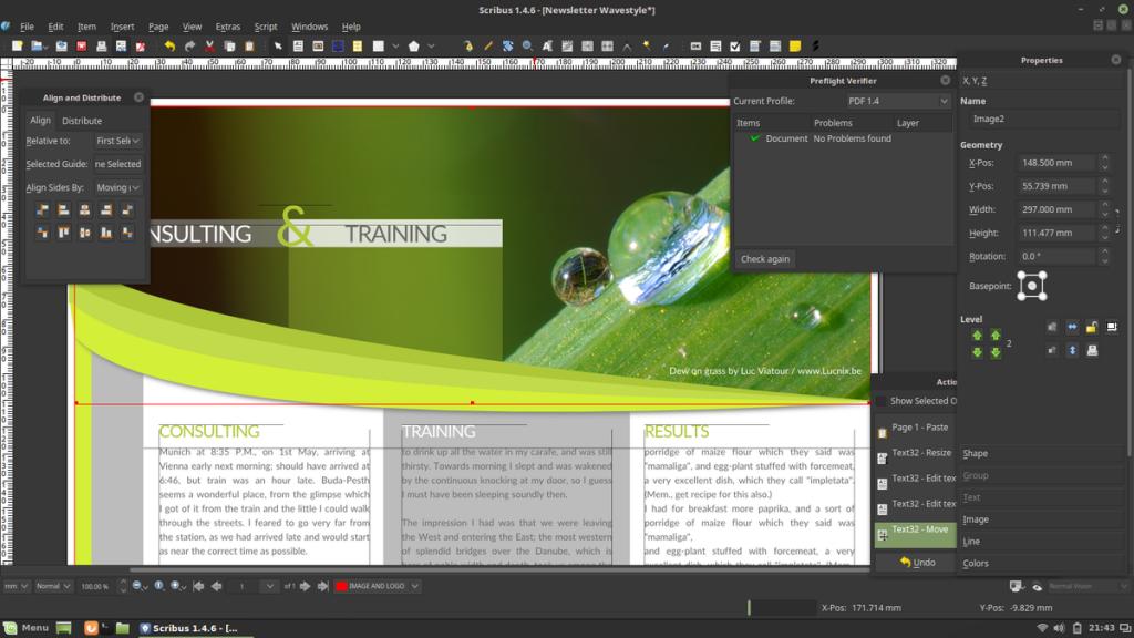 Imagem da área de trabalho do aplicativo Scribus rodando no sistema operacional Linux